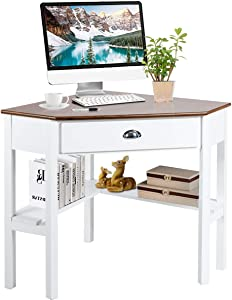 Tangkula Corner Desk, Corner Computer Desk, Wood Compact Home Office Desk, Laptop PC Table Writing Study Table, Workstation with Storage Drawer & Shelves (Natural & White)