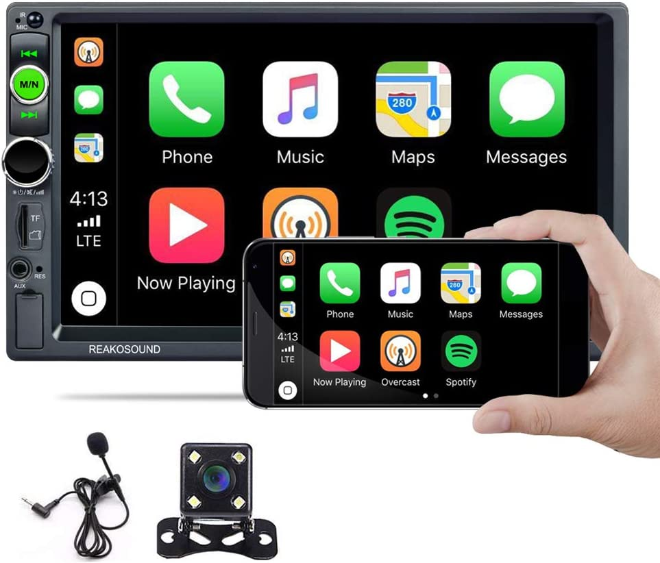 Hikity Car Stereo Double Din Carplay in-Dash Digital Media 2021 New 7 Inch Touchscreen Radio, Bluetooth FM Receiver, Mirror Link, SD AUX USB Input, Wireless Remote Control + Backup Camera & Microphone
