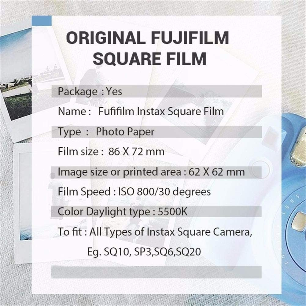 Bulary White//Black Edge Photo Paper Fujifilm Instax Square Film Photo Paper for Instax SQ10 SQ6 SQ20 Instant Camera Share SP-3 Printer
