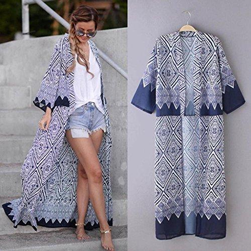 Vovotrade Las mujeres de Boho Impreso gasa Mantón largo kimono Cardigan Azul