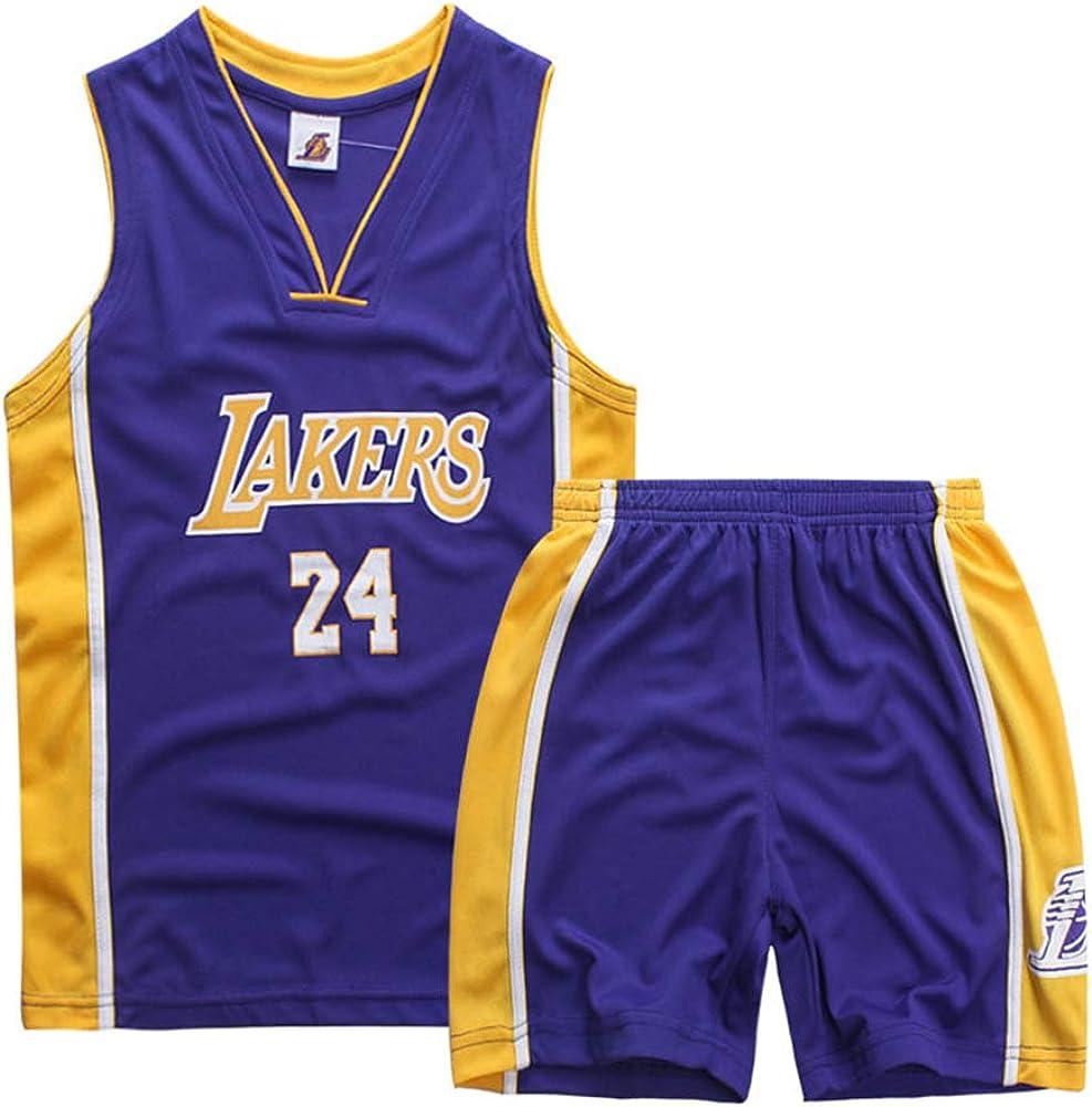 PLLM Camiseta de Baloncesto Infantil Kobe Bryant 24 Ropa Deportiva para Hombre Ropa de Jugador de Baloncesto