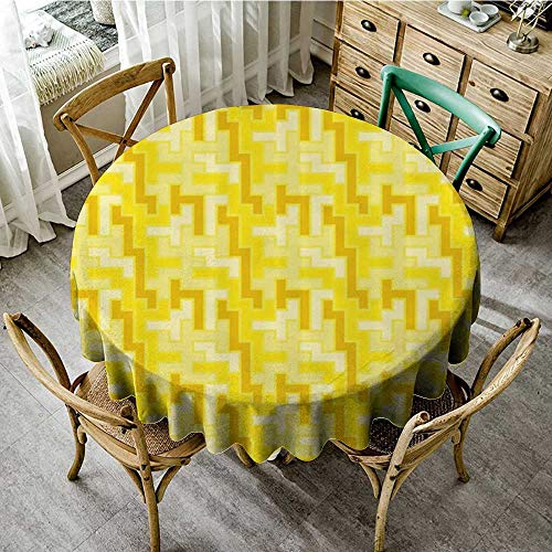 familytaste Spillproof Tablecloths Yellow Decor,Tile Like Square Pattern Geometrical 60s 70s Inspired Artwork,Yellow White and Merigold D 36