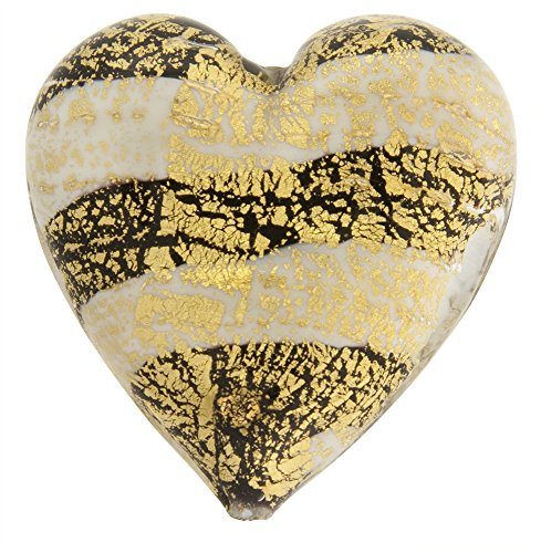 Murano Glass Beads Pale Purple Ca'd'oro Flat Focal Hearts Striped, 40mm