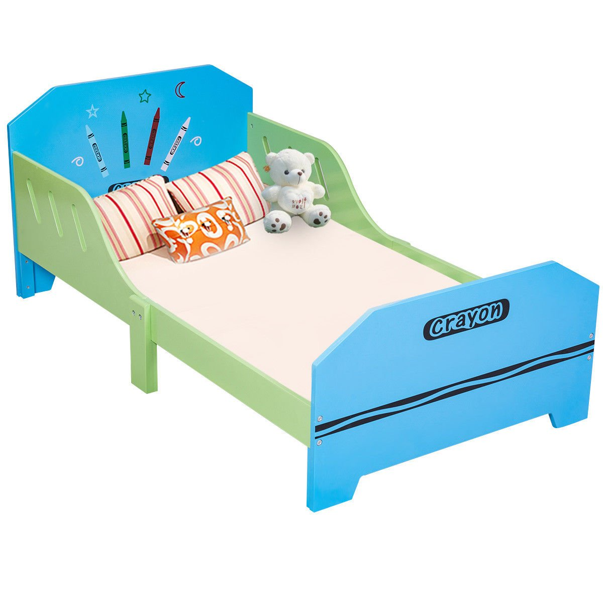 Globe House Products GHP 53.1''x29.1''x21.7'' Blue & Green MDF Crayon Themed Kids Wooden Bed with Bed Rails