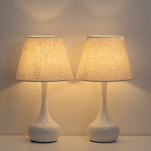 HAITRAL Modern Table Lamps – Bedside Lamps Set of 2, Nightstand Lamps for Bedroom, Living Room, Office with Metal Base Fabric Lamp Shade – White