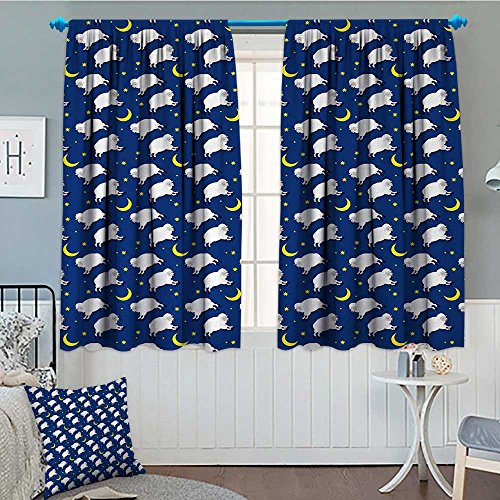 Anniutwo Cartoon Thermal Insulating Blackout Curtain Cute Sleeping Lambs Pattern with Crescent Moon and Stars Bed Children Print Patterned Drape For Glass Door 63