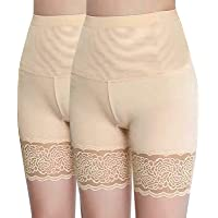 Anti-Chafing Ice Silk Thigh Saver, Elastic Lace Short Safety Pants High Waist Hips Up Shapewear Tummy Control Invisible…