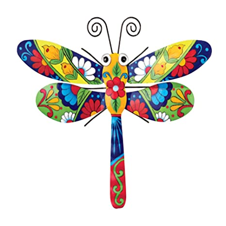 Colorful Metal Mexican Talavera Style Garden Wall Art, Dragonfly