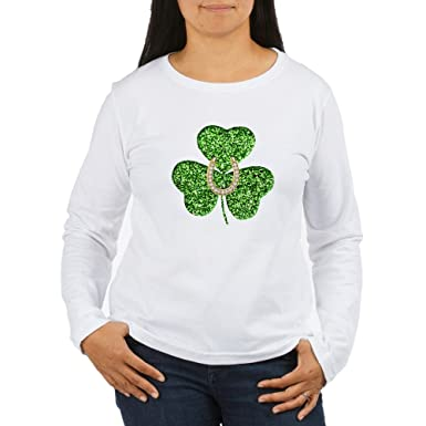 7b1ae24d Amazon.com: CafePress - Glitter Shamrock and Horseshoe Long Sleeve T ...
