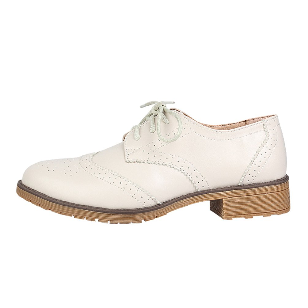 Yiiquan Femme Loisirs Chaussures Classique Rétro Bout Chaussures Derby Brogues Plat Bout Rond Classique Lacets Chaussures Beige 317a82e - fast-weightloss-diet.space