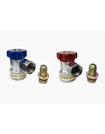 R134A Type Adapter Fittings Quick Coupler High and Low AC Freon Manifold Gauge Hose Conversion Kit
