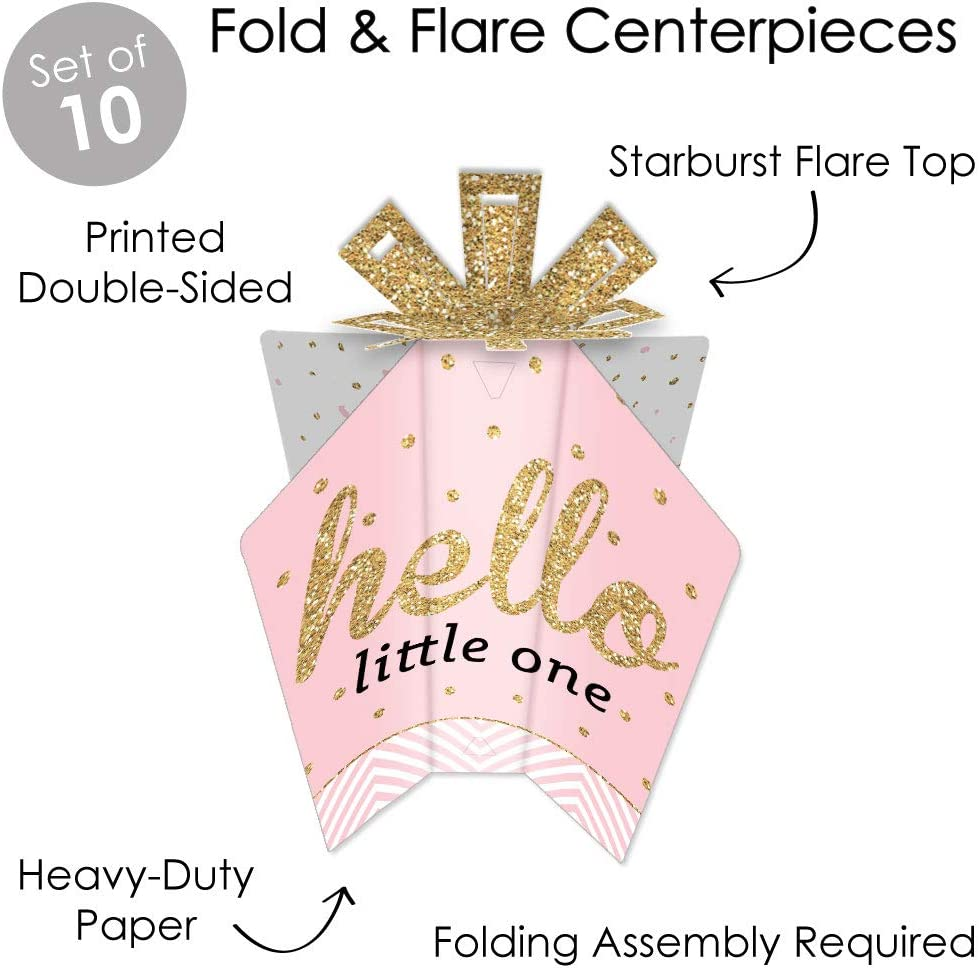 Table Decorations Girl Baby Shower Fold and Flare Centerpieces Big Dot of Happiness Hello Little One Pink and Gold 10 Count