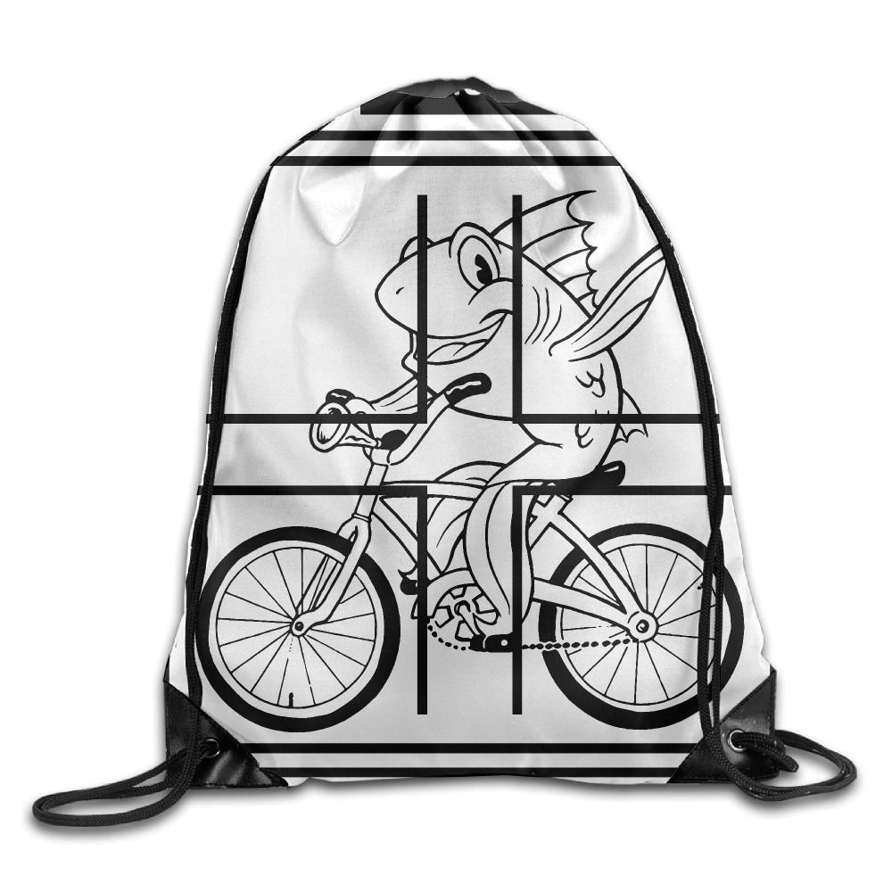 6044dd301c Cool Drawstring Backpack Feminist Fish Riding A Bicycle (with Quote) Art  Design Print Drawstring
