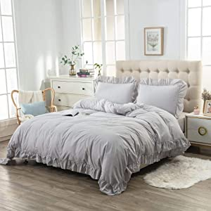 YOSTEV Ruffle Duvet Cover Set with Button Closure,100% Washed Cotton Ultra Soft Set,Grey Solid,Full/Queen Size