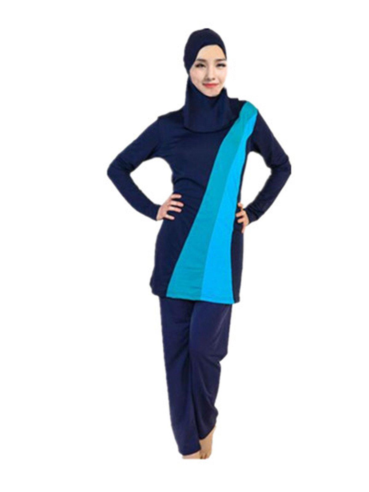Leright Women's Muslim Swimsuit Color Block Moderate 2 Piece Beachwear Burkini, Blue, XXXXL(US Size XXL)