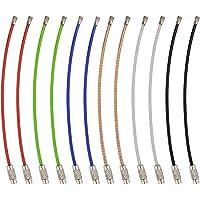 YoGou 1.5mm Farbige Stahldraht Keychain Kabel Schlangenkette Schluesselring Spiraldraht für hängende Gepäck Tag Keyrings und ID-Tag Keepers 6 Farbe 30 Stück