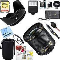 Nikon AF-S NIKKOR 24mm f/1.8G ED Wide Angle Lens for DSLR Cameras + 64GB Ultimate Filter & Flash Photography Bundle