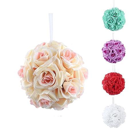 BAI XUE Flor Artificial 5 unids / Pack Seda Rose Flower Bolas ...