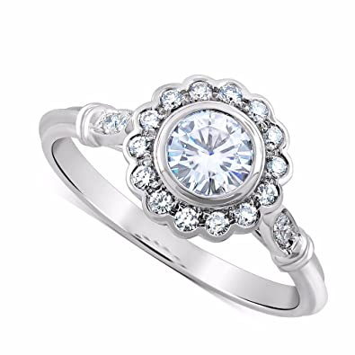3621f980b0d 14K White Gold Diamonds Forever One Moissanite Flower Halo Art Deco ...