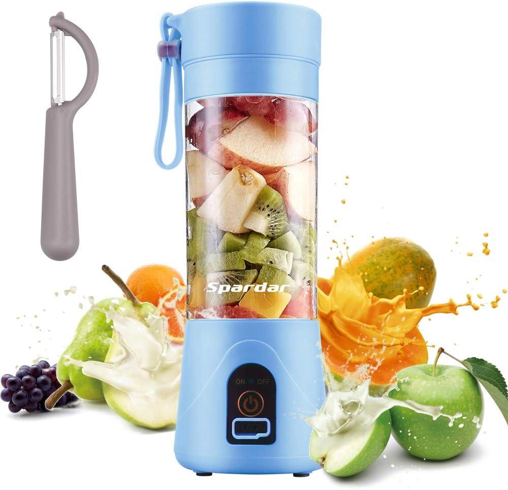 Exprimidor Eléctrico USB Juicer Licuadora Taza de Jugo Máquina de Exprimidor de Botellas de Agua de 400 ml Con 4 Cuchillas, Batería Recargable de 1000 mAh (Azul): Amazon.es: Hogar