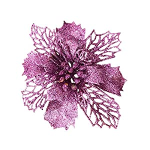 Festivous Wishel New Glitter Artificial Wedding Christmas Flowers Glitter Poinsettia Christmas Tree Ornaments Pack of 12 1