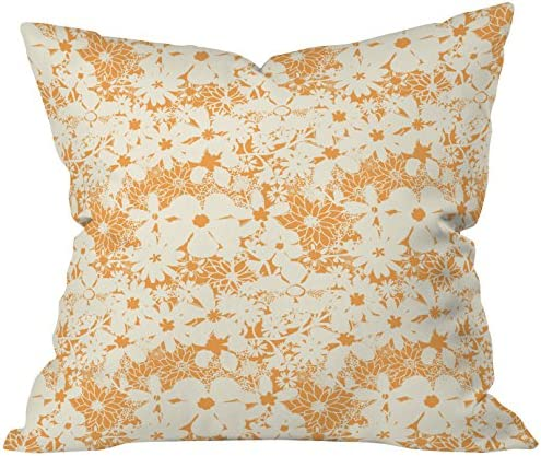 Deny Designs Joy Laforme Floral Rainforest In Yellow Throw Pillow, 20 x 20
