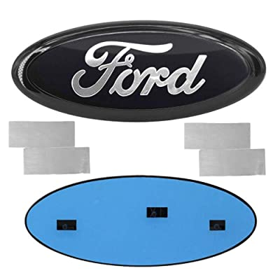 YOJOHUA Oval 9X3.5 Inch Front Grille Rear Tailgate Emblem for Ford 2004-2014 F150, 2005-2007 F250 F350, 11-14 Edge, 11-16 Explorer, 06-11 Ranger (Black): Automotive