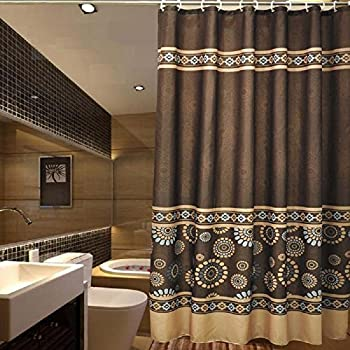 gold and brown shower curtain. Ufaitheart Bathroom Fabric Shower Curtain Sets  72 x 75 Mildew Free Water Repellent Amazon com Double Swag With Liner Set Taupe Tan