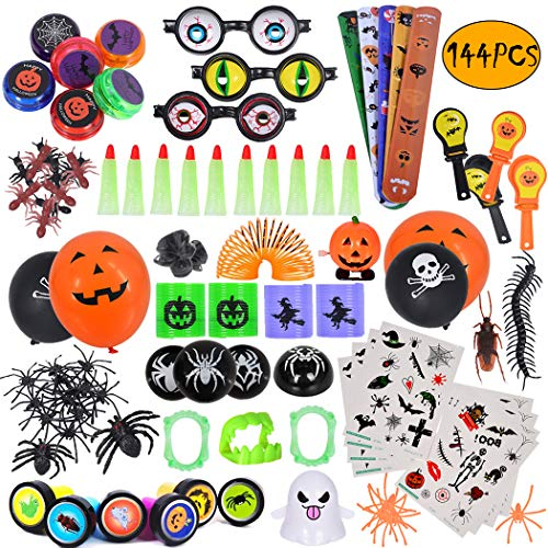 ebuddy 144pc Halloween Toys and Novelty Assortment for Halloween Party Favors, School Classroom Rewards, Trick or Treating, Halloween Miniatures, Halloween Prizes ()