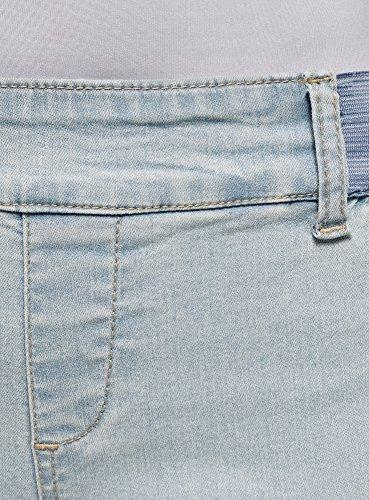 oodji Vaqueros en Elásticas con el Cinturón 7000w Ultra Leggings Azul Inserciones Mujer rqwrEZ1