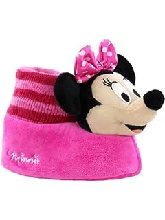 572d2eb53 Minnie Mouse Disney Toddler Girls Plush 3D Minnie Head Sock Top Slippers