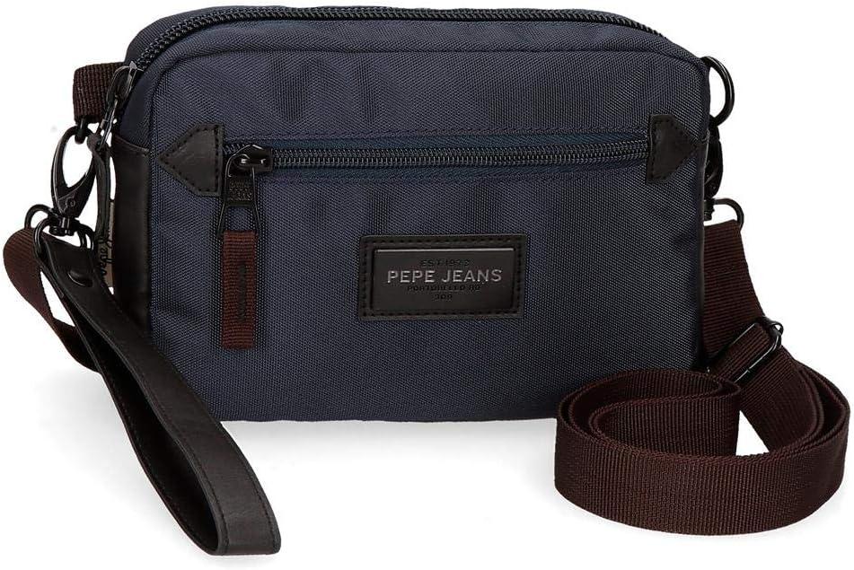 Pepe Jeans Lambert Bolso de Mano con Bandolera Azul 19x13x4,5 cms Poliéster
