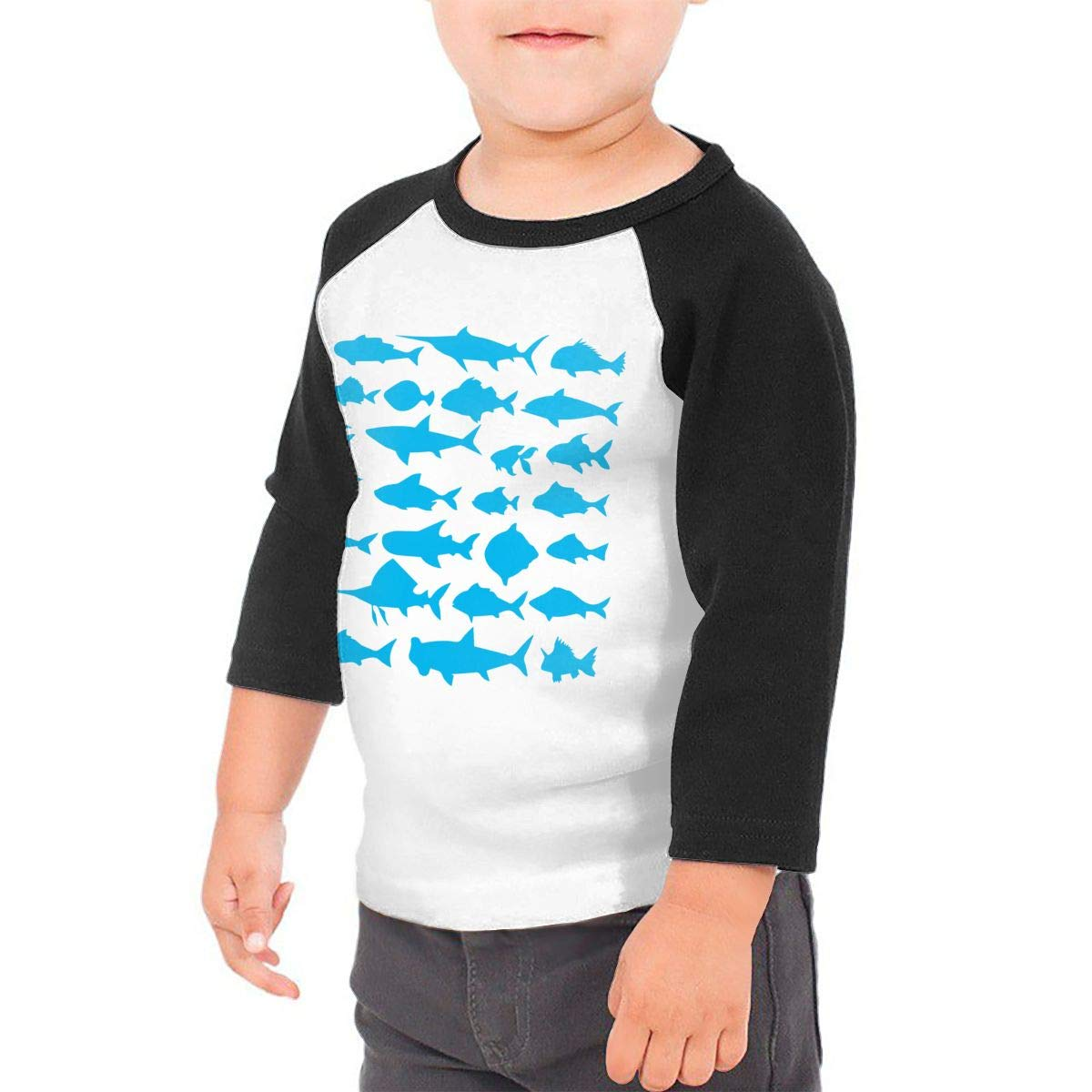 QPKMRTZTX0 Boys Girls Kids /& Toddler Different Fishes Silhouette1-2 Long Sleeve T-Shirt 100/% Cotton