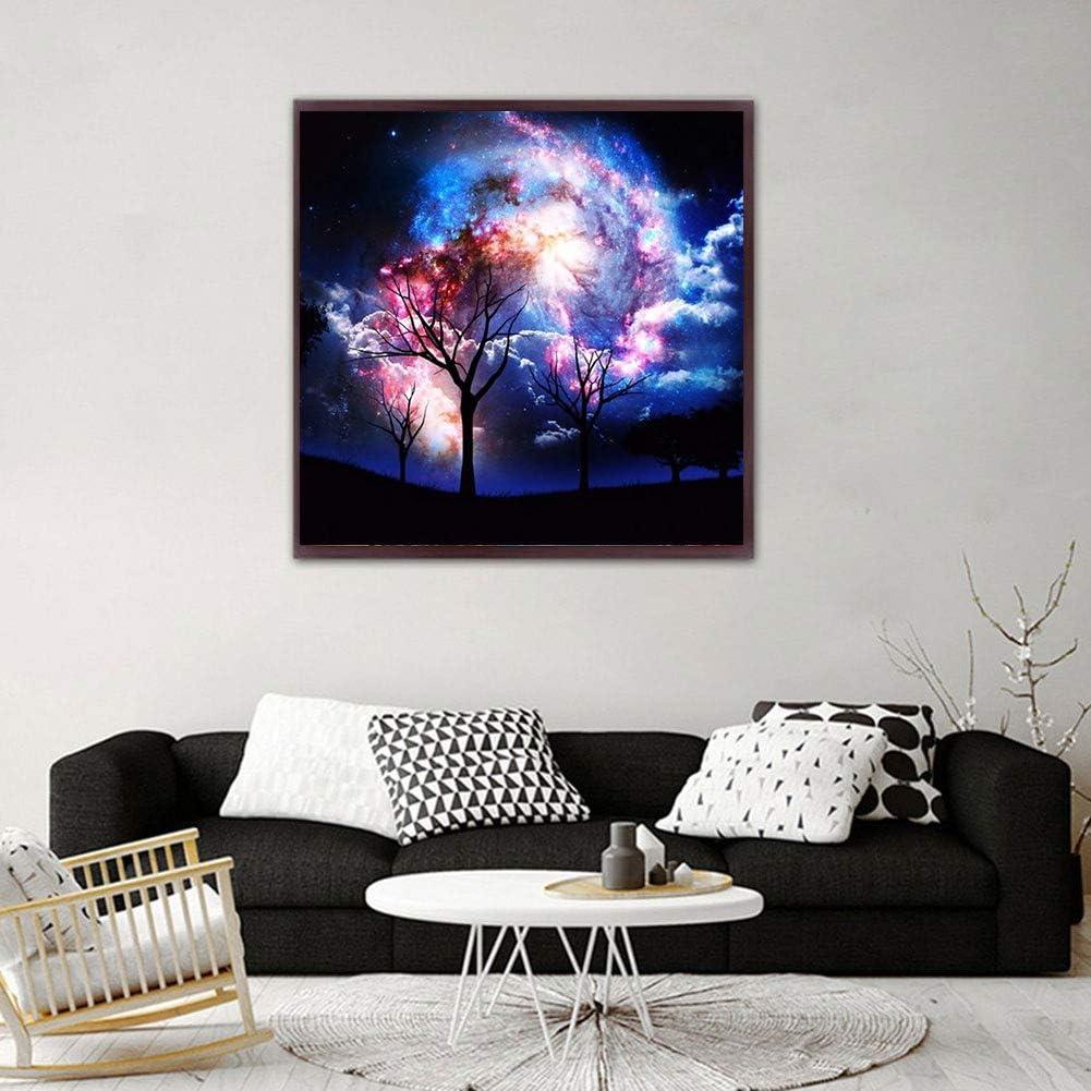 Starry Sky AiEllen DIY Diamond Painting 5D Cross Stitch Craft Set Living Room Decorative Mural 40X40CM//16X16 inch