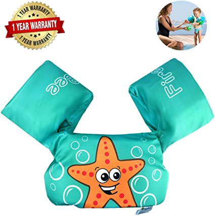 Kids Swim Float Vest Swimming Arm Bands Buoyancy Aid Toddler Life Safe Jacket IB