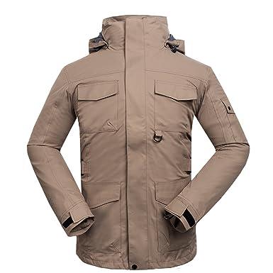emansmoer Homme 3 en 1 Multi-Poches Capuche Coupe-Vent Imperméable Outdoor  Veste de 89a49cf913d7
