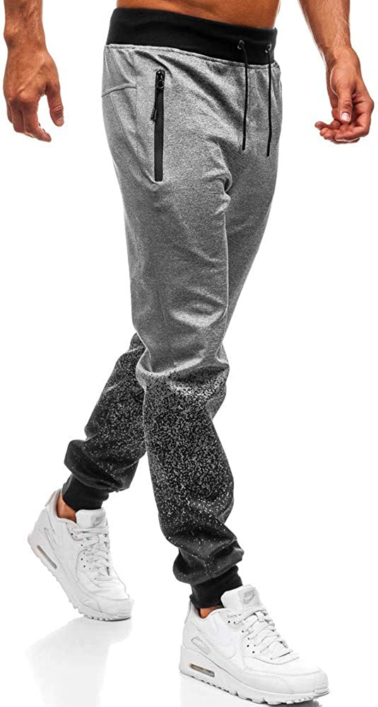Casual pants,EOWEO Fashion Mens Outdoor Packwork Graduated Black Splicing Drawstring Trousers Pants