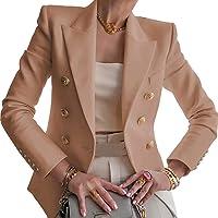 Blazer para Mujer Elegante Mangas Largas Chaqueta de Traje con Botones Dorados Corte Slim de Negocio Oficina Color…