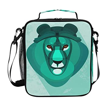 6a8242b7978e Image Unavailable. Image not available for. Color  DEYYA Lion Abstract Square  Insulated Lunch Tote Bag Cooler Bag Zipper ...