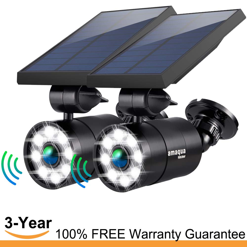 Solar Motion Sensor Lights Outdoor 1400-Lumens 9-Watt 110W Equ. Aluminum Auto On Off and Dim to Bright Outdoor Flood Security Spotlight for Patio Garden Driveway, 3-Year 100 FREE Warranty Guarantee