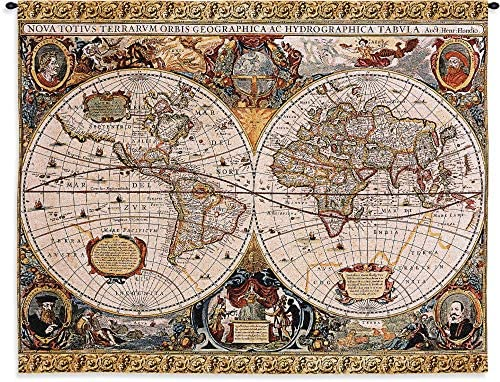 Antique Map Geographica by Jan Janssonius Woven Tapestry Wall Art Hanging Old World Cartography 100 Cotton USA Size 45×35