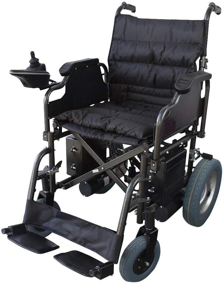 Mobiclinic, modelo Cenit, Silla de ruedas eléctrica, plegable, acero, con motor, para discapacitados, minusválidos, ancianos, ortopedica, para mayores, autonomía 20 km, 24V, color Negro