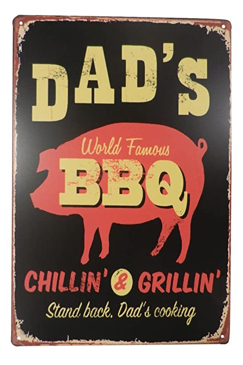 Dad's Barbecue Home 10 x 8 Large Gift Retro metal Sign/Plaque