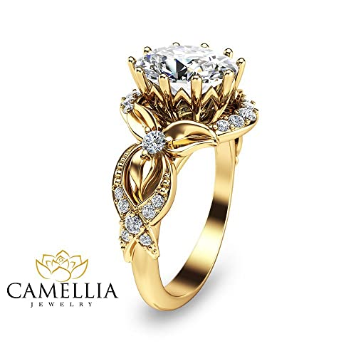 Amazon Com 14k Yellow Gold Moissanite Engagement Ring Oval Diamond