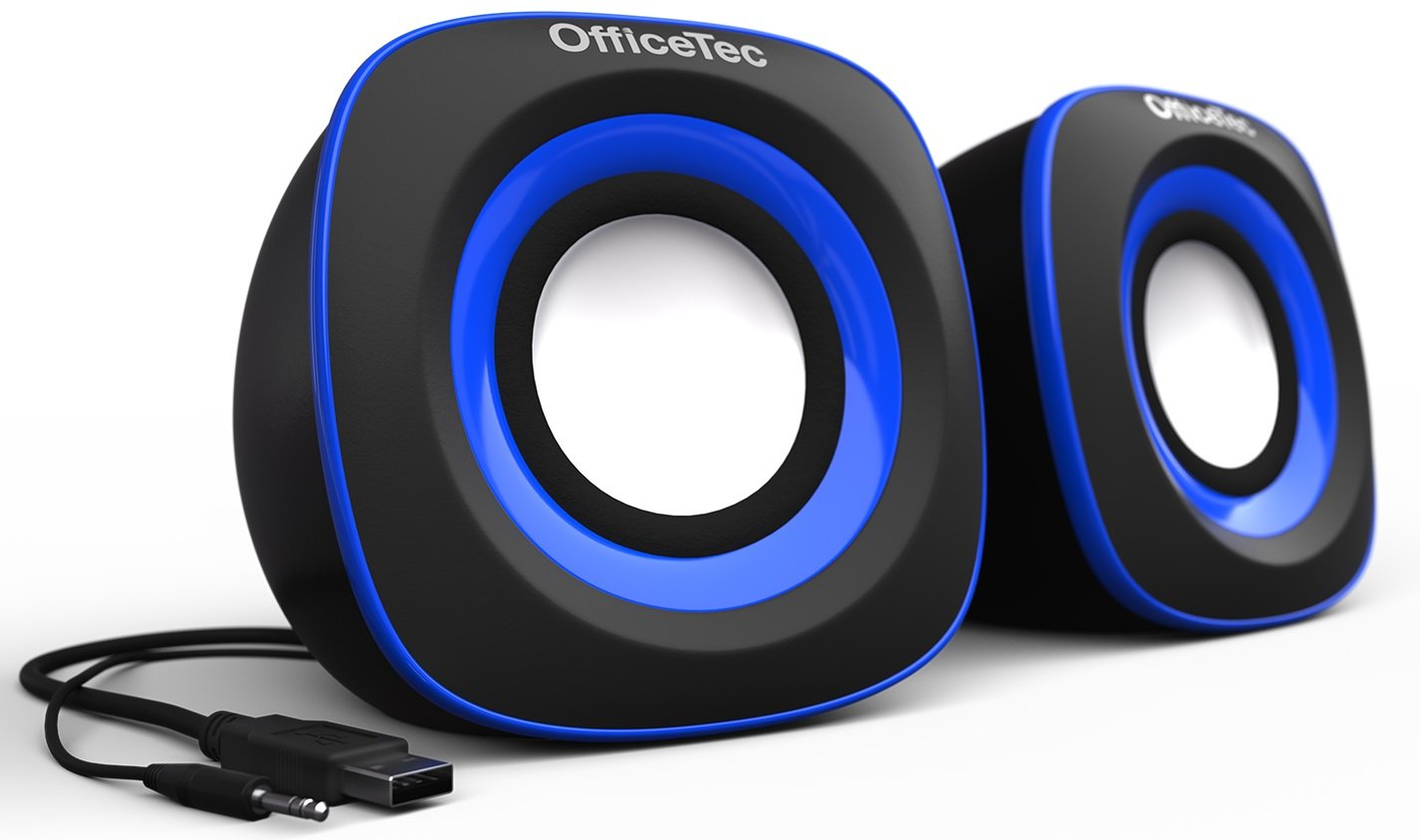 OfficeTec USB Speakers Compact 2.0 System for Mac and PC (Blue)