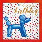 Happy Birthday Blue Balloon Animal 20 Count 3-Ply 5 x 5 inch Cocktail Napkins, 2 Pack