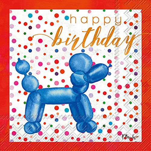 Happy Birthday Blue Balloon Animal 20 Count 3-Ply 5 x 5 inch Cocktail Napkins, 2 Pack by Boston International