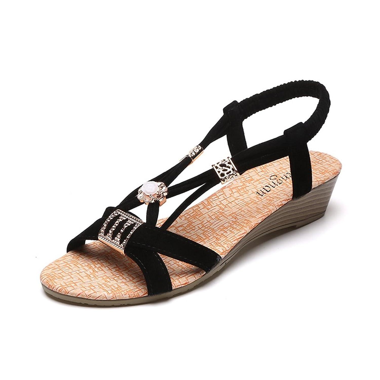 Sandalen Frauen Heels Kompensiert Offene Zehen Blume Tangas Bohemian Bling Elastische Schuhe