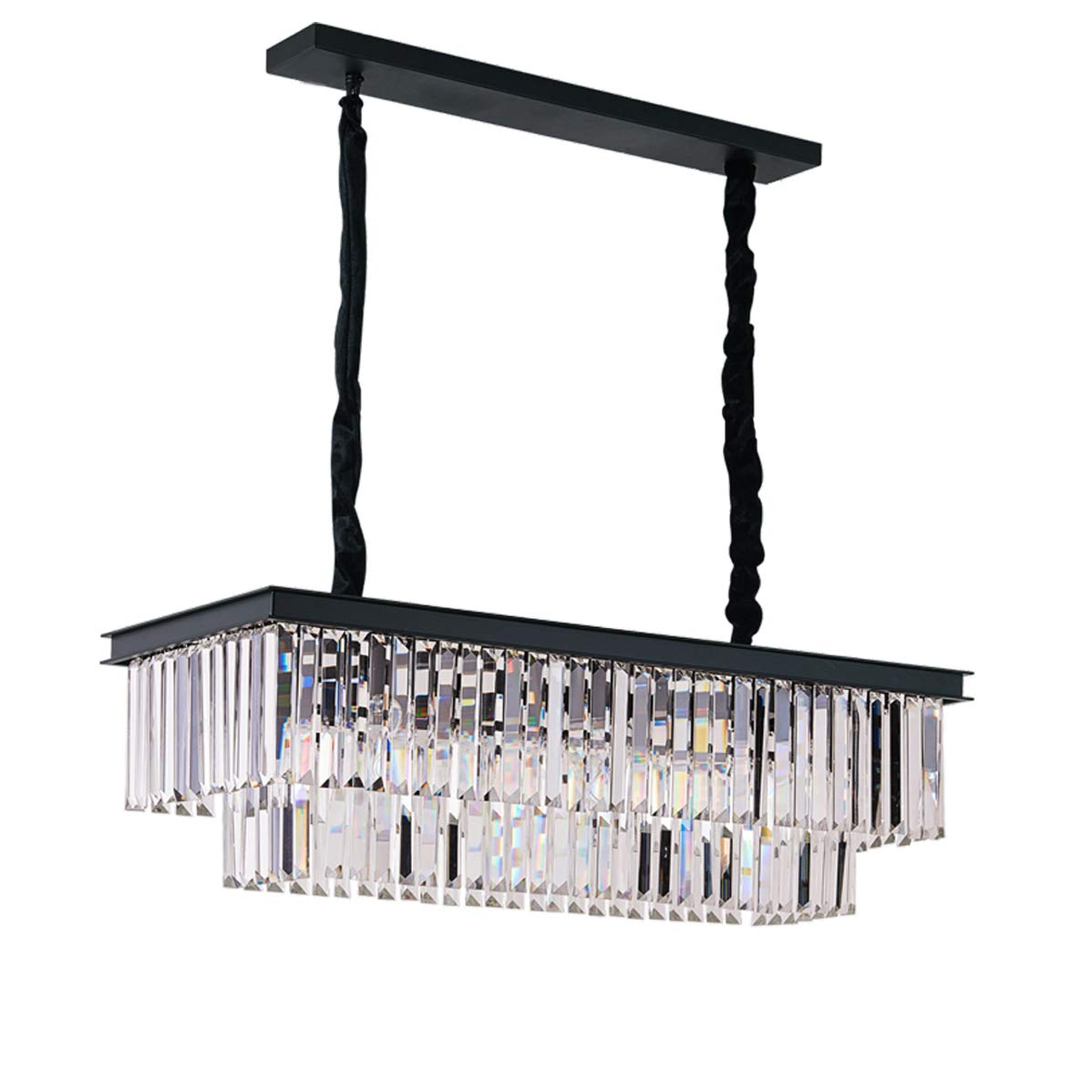 "Rectangular Crystal Chandelier Lighting Modern Linear Pendant Chandeliers Lights for Kitchen Island Dinning Table Dining Room Pool Room Rectangle Ceiling Fixture L33.5"" by Antilisha"