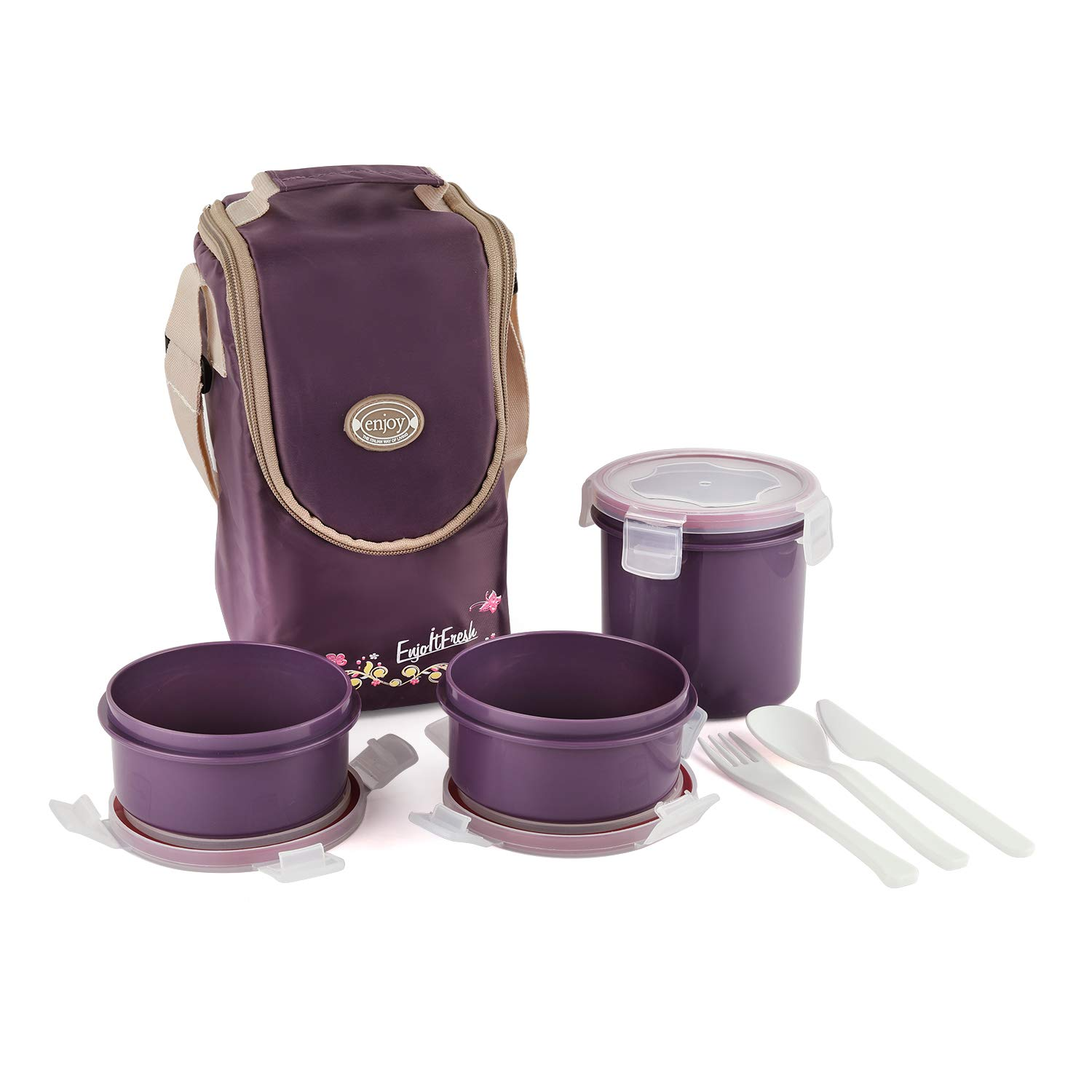 Cello Enjoy Plastic Lunch Box with 3 Container Fabric Bag Maroon